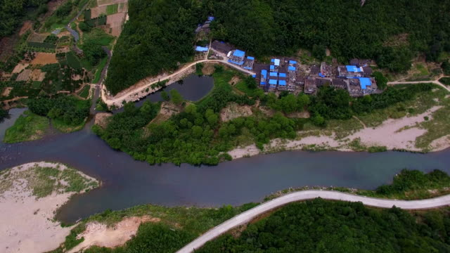 Aerial view Above a River creek and forest on the Mountain/Fujian,China.