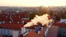 Aerial view above Prague at sunrise