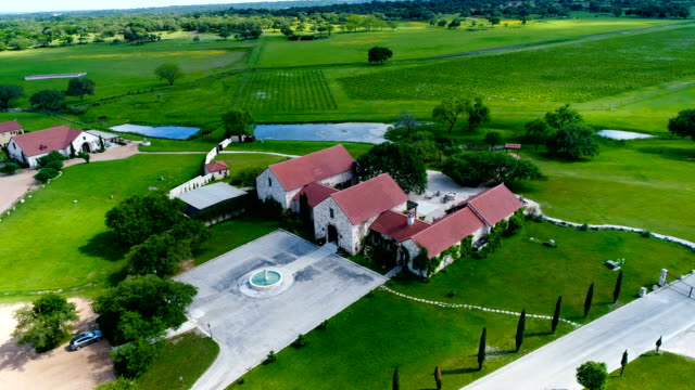 aerial view above ranch homes on vineyard with wine fields in the background - texas stock videos & royalty-free footage