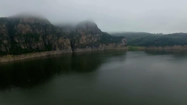 Aerial view Above Songhua River /Jilin,China.