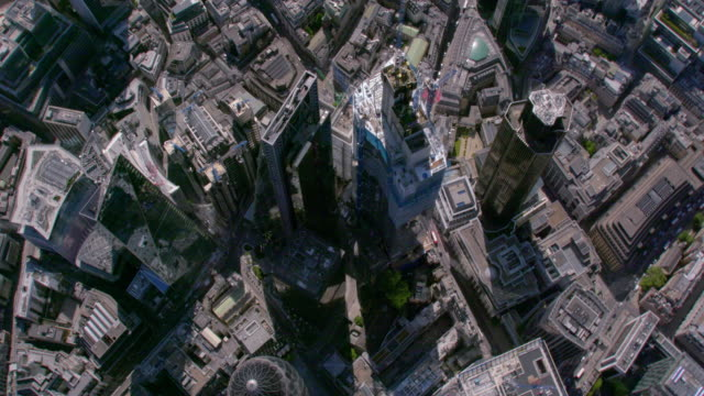 aerial view above the city, london, uk. 4k - city of london stock videos & royalty-free footage