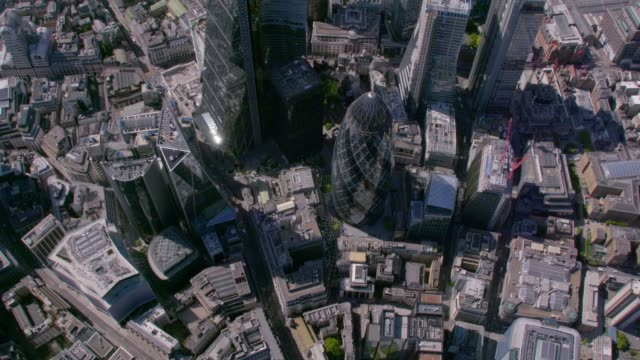 aerial view above the city, london, uk. 4k - london england stock videos & royalty-free footage