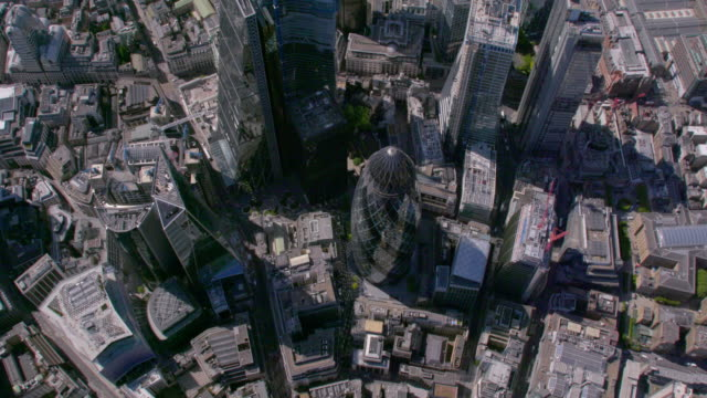 aerial view above the city, london, uk. 4k - skyline stock videos & royalty-free footage