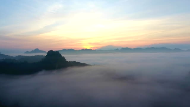 Aerial view above the cloud at sunrise