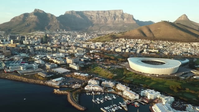 Aerial view across Cape Town, South Africa