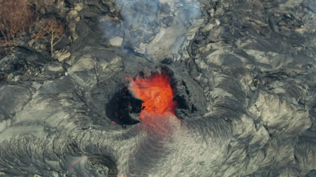 Aerial view active volcanic hot magma destroying vegetation