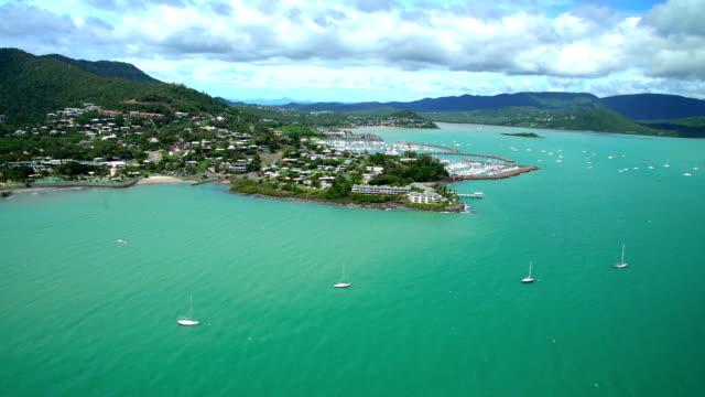 Aerial view Airlie Beach Pioneer Bay Whitsundays Australia
