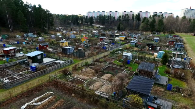 aerial view allotments - community garden stock videos & royalty-free footage