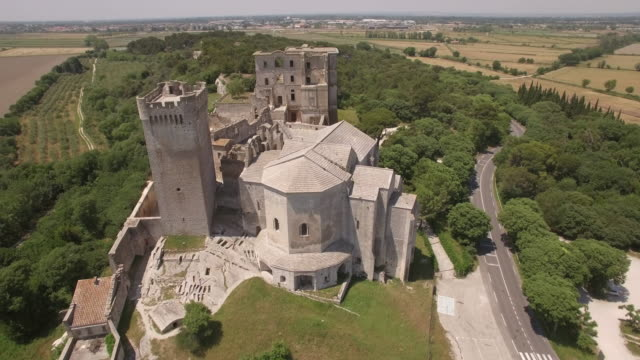 aerial view ws ancient abbey montmajour - abbey monastery stock videos & royalty-free footage