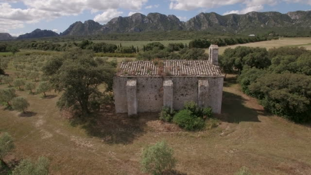Aerial view WS ancient chapel of Romanin