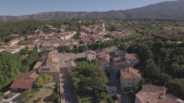 Aerial view WS ancient village of Bédoin in Southern France