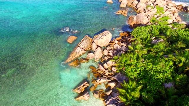 Vue aérienne: Anse Cocos, La Digue Island, Seychelles