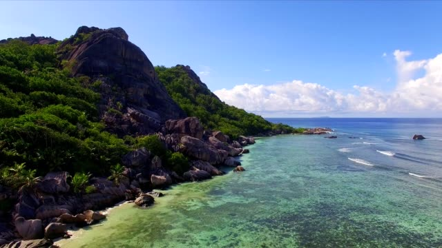 Aerial view: Anse Source d'argent, La Digue Island, Seychelles
