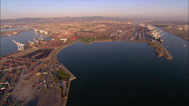 Aerial view approaching the Port of Oakland / Oakland, California