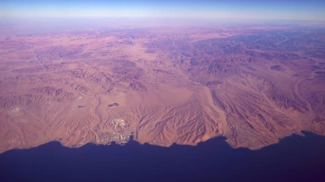 aerial view ḥaqal city in the northwest of saudi arabia  gulf of aqaba - rotes meer stock-videos und b-roll-filmmaterial