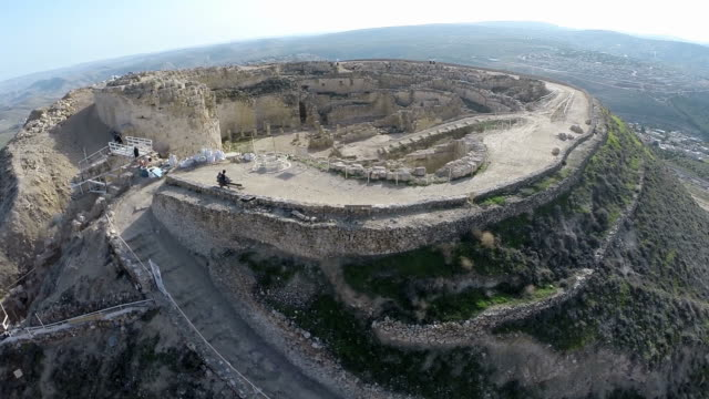 aerial view, archeological site of herodium (herodion) in judean desert, israel - fortress stock videos & royalty-free footage