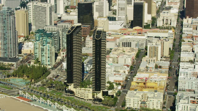 aerial view architecture city skyscrapers san diego usa - san diego stock videos & royalty-free footage