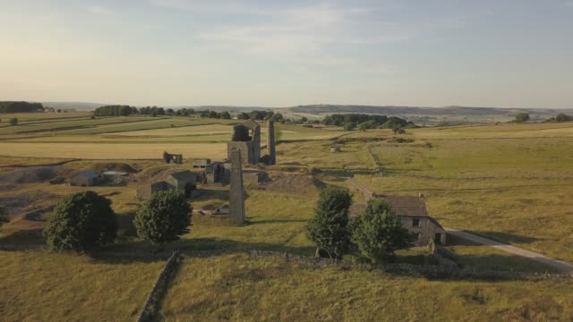 stockvideo's en b-roll-footage met aerial view around magpie mine, ashford in the water, bakewell, peak district national park, derbyshire, england, united kingdom, europe - fysische geografie