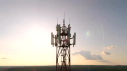 Aerial view around of the cellular telecom tower