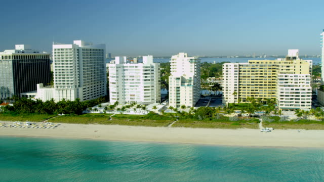 Aerial view Art Deco hotels Biscayne Bay Miami