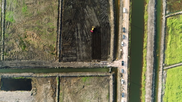 aerial view asian paddy field - irrigation equipment stock videos & royalty-free footage