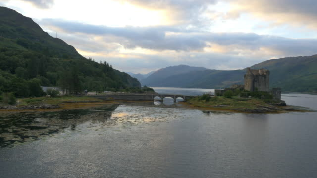aerial view at dusk eilean donan castle dornie - scottish culture stock videos & royalty-free footage