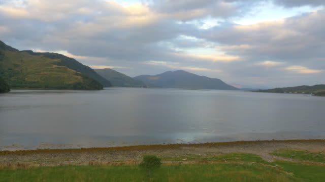aerial view at dusk loch duich dornie scotland - dornie stock videos & royalty-free footage