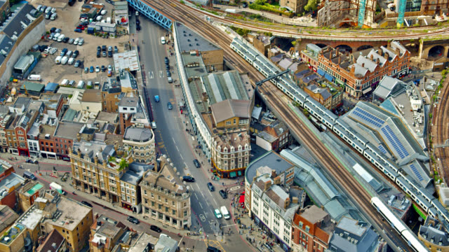 aerial view at london city street - aerial view stock videos & royalty-free footage
