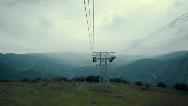 aerial view at mountains from aerial tramway - cable car stock videos & royalty-free footage