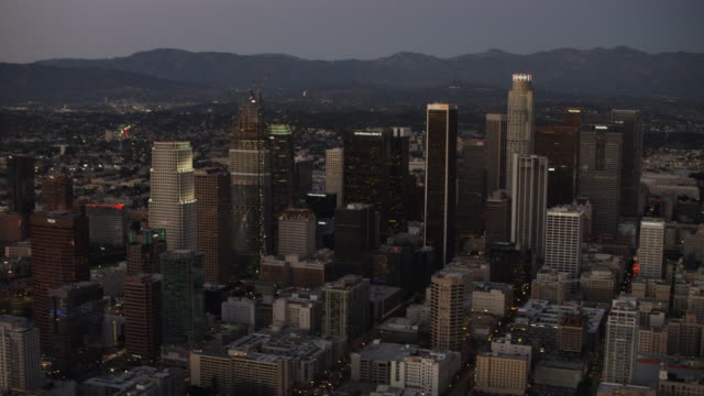 Aerial view at night of Los Angeles cityscape