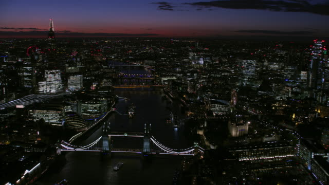 aerial view at night river thames london skyline - skyline stock videos & royalty-free footage