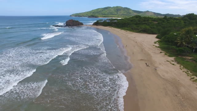 aerial view at playa grande, costa rica - コスタリカ点の映像素材/bロール