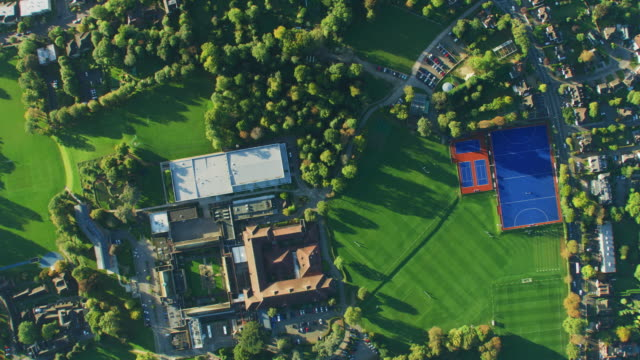 aerial view at sunrise british residential communities london - twilight stock videos & royalty-free footage