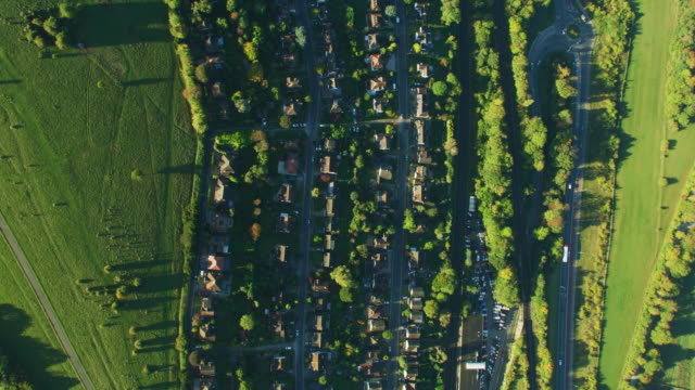 aerial view at sunrise british residential community london - twilight stock videos & royalty-free footage