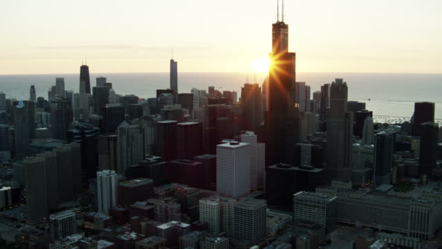 aerial view at sunrise of sears tower chicago - michigan avenue chicago stock videos & royalty-free footage