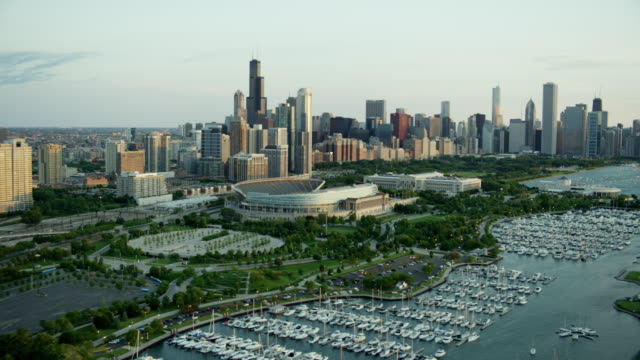 Aerial view at sunrise of Soldier Field football