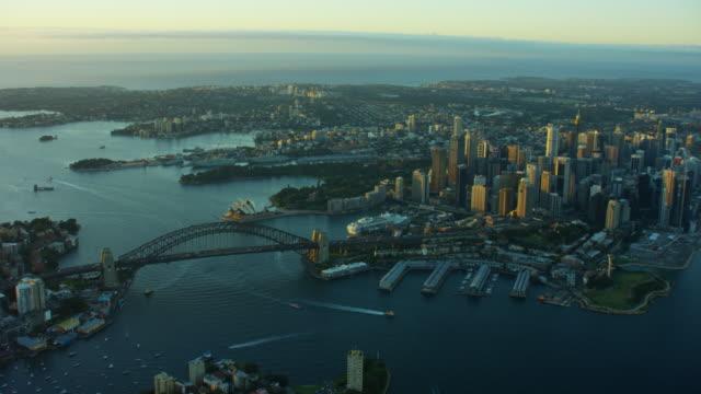 Aerial view at sunrise of Sydney Harbour Bridge