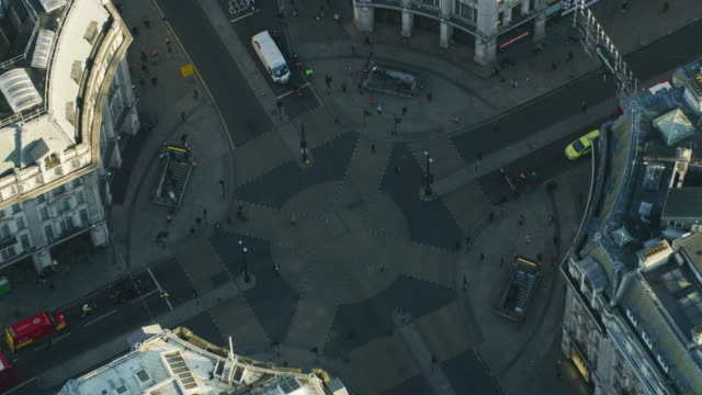 aerial view at sunrise oxford circus london england - twilight stock videos & royalty-free footage