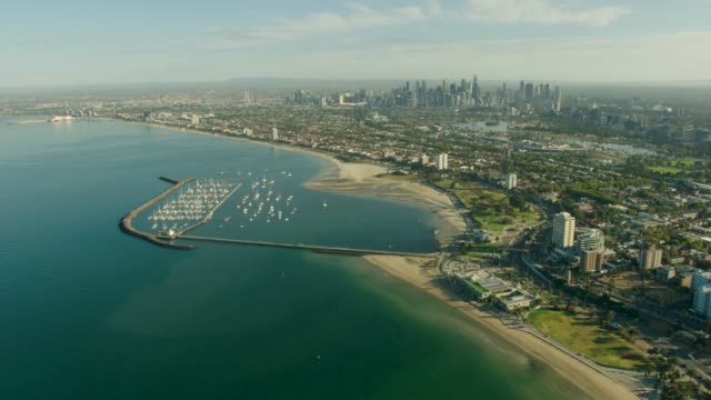 aerial view at sunrise st kilda pier melbourne - viewpoint stock videos & royalty-free footage