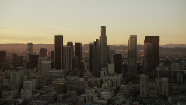 Aerial view at sunset downtown buildings Los Angeles