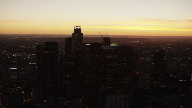 Aerial view at sunset Los Angeles financial district