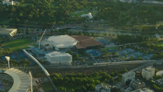 aerial view at sunset melbourne park arenas australia - tennis stock videos & royalty-free footage