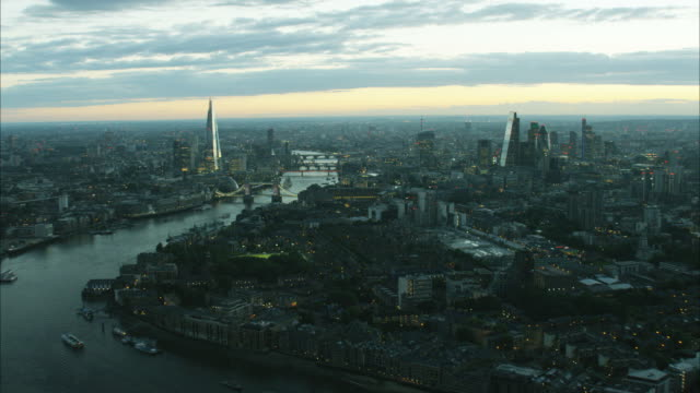 Aerial view at sunset of Shard Building London