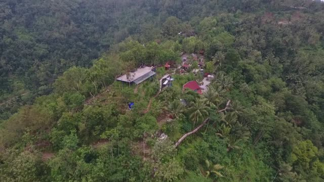 Aerial view at the Pule Payung Tourism Hill attraction is seen in this aerial video taken above Kulon Progo Regency Special Region of Yogyakarta...