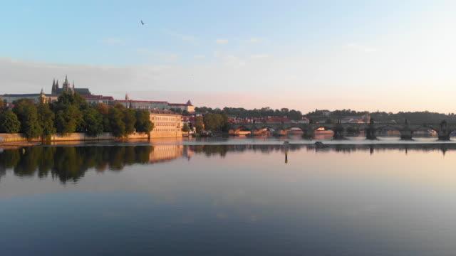 aerial view at vltava river prague - river vltava stock videos & royalty-free footage
