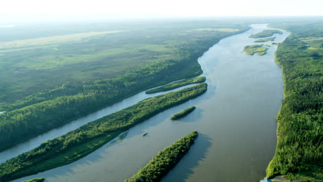 Aerial view Athabasca river near Fort McMurray