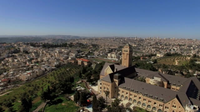 Aerial view/ Augusta Victoria  Compound includes a Hospital and Evangelical Lutheran Church of the Ascension/ Jerusalem, Israel