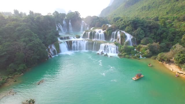 aerial view bangioc waterfall in cao bang province, vietnam - off the beaten path stock videos & royalty-free footage