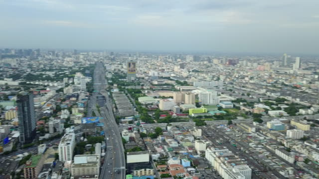 Aerial View Bangkok with highway transport
