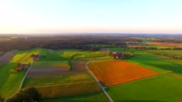 Aerial view: Bavarian landscape in autumn